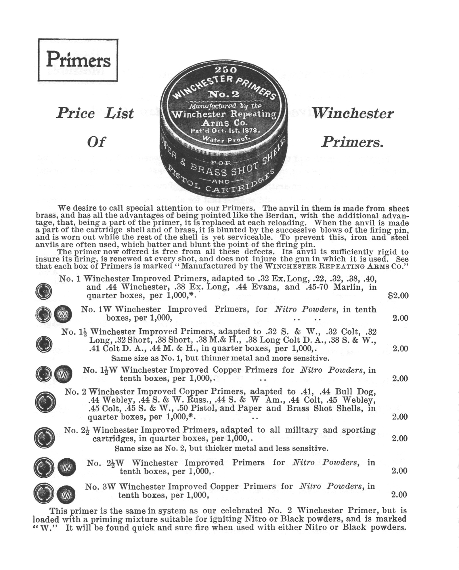 "Advertisement from the 1899 Winchester catalog for primers. Note the ""W"" series primers are recommended for nitro powders."